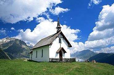 Mountain church overlooking the Aletsch Glacier, Belalp, Brig, Valais, Switzerland, Europe