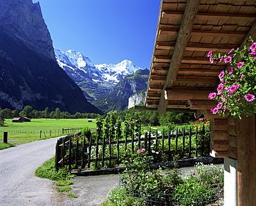 View to the Breithorn, Lauterbrunnen, Bern, Swiss Alps, Switzerland, Europe