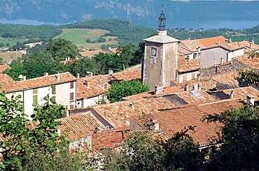 View over village to Ste. Croix Lake, Aiguines, Var, Cote d'Azur, Provence, France, Europe