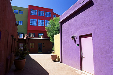 Pastel coloured facades in the village, La Placita, Tucson, Arizona, United States of America, North America