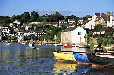 View across water from Noss Mayo to the village of Newton Ferrers, near Plymouth, Devon, England, United Kingdom, Europe