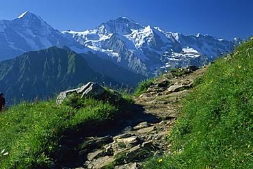 View along path to snow covered summit of the Jungfrau, Schynige Platte, near Interlaken, Bern, Switzerland, Europe