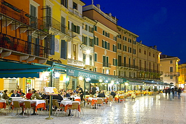 Typical restaurants overlooking Piazza Bra after dark, Verona, Veneto, Italy, Europe