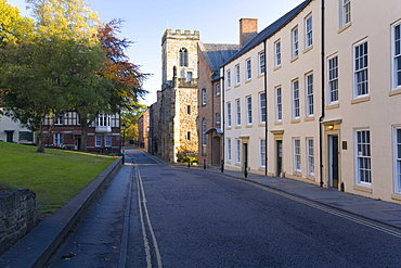 View northwards along North Bailey below the cathedral, St. Chad's College prominent, Durham, County Durham, England, United Kingdom, Europe