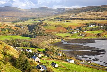 View from hillside to the village of Uig, Trotternish Peninsula, Isle of Skye, Highland, Scotland, United Kingdom, Europe
