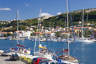 Yachts moored in the harbour, Rab Town, Island of Rab, Primorje-Gorski Kotar, Croatia, Europe