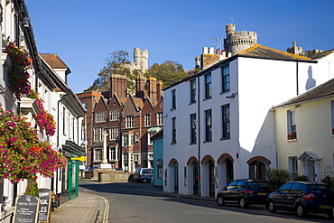 An attractive corner of the High Street, Arundel, West Sussex, England, United Kingdom, Europe