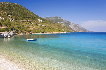 View across the tranquil Gulf of Molos, near Vathy (Vathi), Ithaca (Ithaki), Ionian Islands, Greek Islands, Greece, Europe