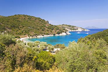 View from hillside over Filiatro Bay, near Vathy (Vathi), Ithaca (Ithaki), Ionian Islands, Greek Islands, Greece, Europe