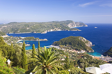 View over Liapades Bay from hilltop viewpoint near Lakones, Paleokastritsa, Corfu, Ionian Islands, Greek Islands, Greece, Europe