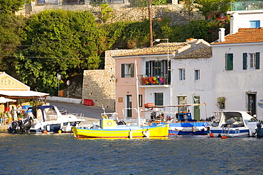 View across the colourful harbour, Loggos, Paxos, Paxi, Corfu, Ionian Islands, Greek Islands, Greece, Europe