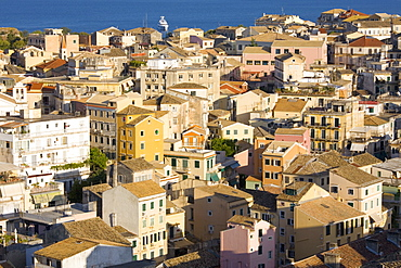 View over the Old Town from the New Fortress, Corfu Town, Corfu, Ionian Islands, Greek Islands, Greece, Europe
