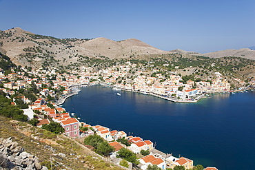 View over the harbour from hillside, Gialos (Yialos), Symi (Simi), Rhodes, Dodecanese Islands, South Aegean, Greece, Europe
