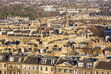 View over New Town rooftops from Calton Hill, Edinburgh, City of Edinburgh, Scotland, United Kingdom, Europe