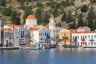 Waterfront houses and church, Kastellorizo (Kastelorizo, Megisti, Meis), Rhodes, Dodecanese Islands, South Aegean, Greece, Europe