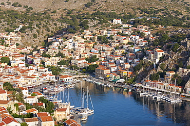 View over the colourful harbour, Gialos (Yialos), Symi (Simi), Rhodes, Dodecanese Islands, South Aegean, Greece, Europe