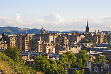 View to the Old Town skyline from Calton Hill, Edinburgh, City of Edinburgh, Scotland, United Kingdom, Europe