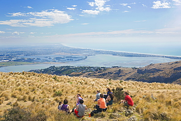 Group of young people enjoying a picnic on the Port Hills, Christchurch, Canterbury, South Island, New Zealand, Pacific