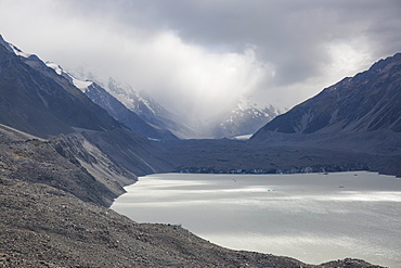 View across Tasman Lake to the Tasman Glacier, Aoraki (Mount Cook) National Park, UNESCO World Heritage Site, Mackenzie district, Canterbury, South Island, New Zealand, Pacific