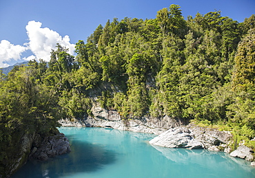 View along the Hokitika River, Hokitika Gorge, Kowhitirangi, near Hokitika, Westland district, West Coast, South Island, New Zealand, Pacific