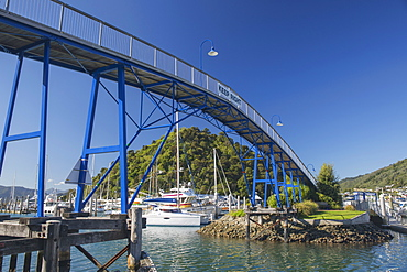 The Coathanger Bridge spanning the marina, Picton, Marlborough, South Island, New Zealand, Pacific