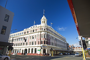 The historic Allied Press Building on the corner of Cumberland Street and Stuart Street, Dunedin, Otago, South Island, New Zealand, Pacific