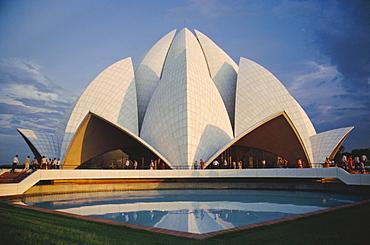 The Bahai Lotus Flower Temple, built in 1980, centre of the Bahai faith, Delhi, India