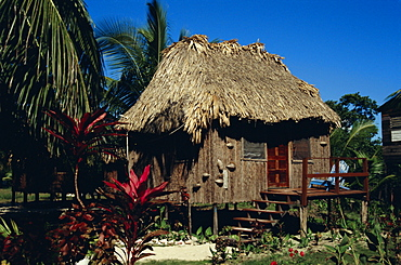 Typical thatched wooden hut on the island, Caye Caulker, Belize, Central America