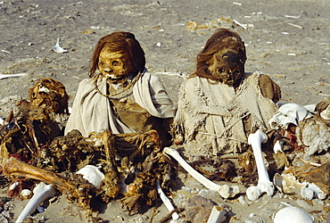 Chauchilla Cemetary, human remains preserved for over 500 years, Nazca, Peru, South America