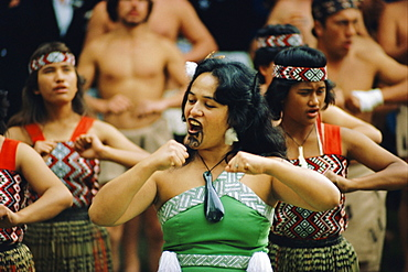Maori Poi dancers, Waitangi, North Island, New Zealand, Pacific - 395-92