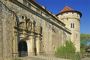 Carvings over the entrance to Castle Hohentubingen at Tubingen in Baden Wurttemberg, Germany, Europe