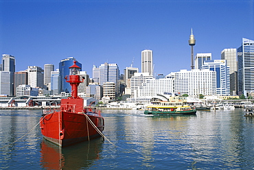 Lightship and city skyline, Darling Harbour, Sydney, New South Wales (NSW), Australia, Pacific