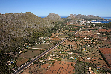 Tramuntana Mountains and Port de Pollenca, Mallorca, Balearic Islands, Spain, Europe