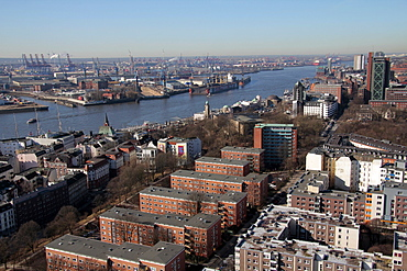 View from St. Michaelis to port, Hamburg, Germany, Europe