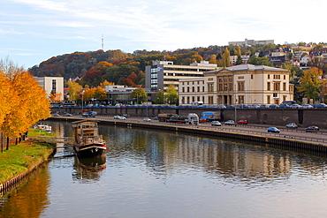 River Saar and Landtag Saarland (State Parliament), Saarbrucken, Saarland, Germany, Europe