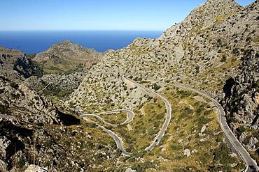 Serpentine road to Sa Calobra, Mallorca, Balearic Islands, Spain, Mediterranean, Europe