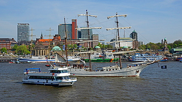 Elbe River at Landing Stages, Hamburg, Germany, Europe