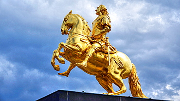 Equestrian statue of Augustus II the Strong, Dresden, Saxony, Germany, Europe