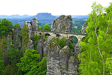 Bastei Bridge on Bastei Rock Formation near Rathen, Saxon Switzerland, Saxony, Germany, Europe
