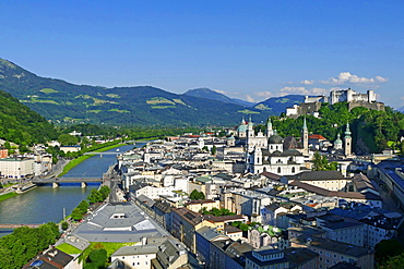 View from Moenchsberg Hill across Salzach River with Cathedral, Collegiate Church and Fortress Hohensalzburg, Salzburg, Austria, Europe