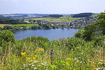 View across Schalkenmehren Maar towards Schalkenmehren, Eifel, Rhineland-Palatinate, Germany, Europe