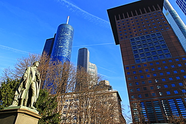 Schiller Monument and Financial District, Frankfurt am Main, Hesse, Germany, Europe