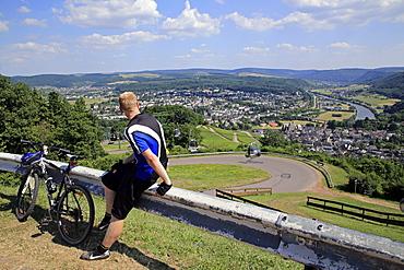 View from Mount Warsberg to Saarburg, Saar River, Rhineland-Palatinate, Germany, Europe
