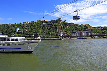 Cable Car to Fortress Ehrenbreitstein on Rhine River, Koblenz, Rhineland-Palatinate, Germany, Europe