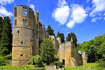 Ruin of Beaufort Castle in Beaufort, Canton of Echternach, Grand Duchy of Luxembourg, Europe