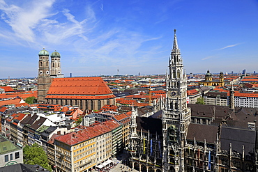 View from St. Peter's Church down to Marienplatz Square, City Hall and Church of Our Lady, Munich, Upper Bavaria, Bavaria, Germany, Europe
