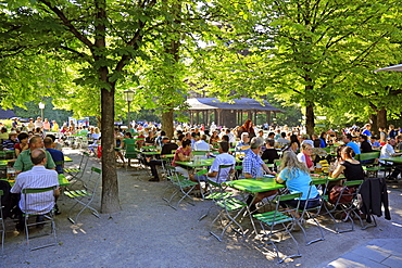 Beer garden at the Chinesischer Turm in the English Garden, Munich, Upper Bavaria,Bavaria, Germany, Europe