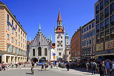 Marienplatz Square with Old City Hall in Munich, Upper Bavaria, Bavaria, Germany, Europe