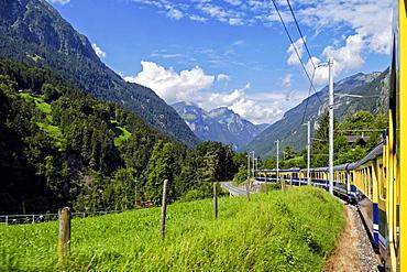 Berner Oberlandbahn Railway in Lutschental near Grindelwald, Bernese Oberland, Switzerland, Europe