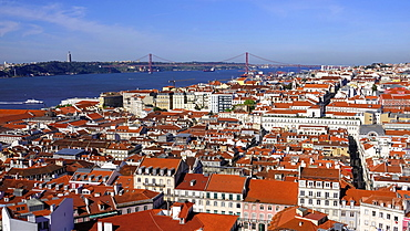 View from Castelo Sao Jorge over the old town Baixa, River Tejo (Tagus River), Lisbon, Portugal, Europe